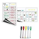 TimberRain Magnetisches Whiteboard kühlschrank Kalender (2 Stücks), Wochenplaner und Monatsplaner für Küche, Abwischbar und Wiederverwendbar, mit 5 Farbige Abwischbare Magnetische Marker