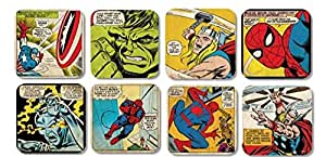 Marvel Comic - Retro Superhelden Thor Spiderman Hulk Untersetzer 8er Set (Marvel Set 2)