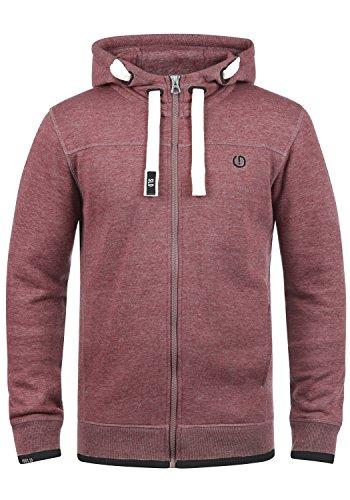 SOLID BenjaminZip Herren Sweatjacke Kapuzen-Jacke Zip-Hoodie aus hochwertiger Baumwollmischung, Größe:XXL, Farbe:Wine Red Melange (8985)