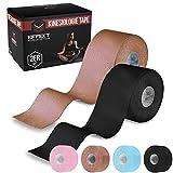 Effekt Manufaktur Kinesiologie Tape in verschiedenen Farben (5m x 5cm) - Kinesiotapes wasserfest + elastisch für Sport - Kinesiotape Sporttape - Physio Tape Kinesio Tapes (Schwarz + Beige, 2er Set)