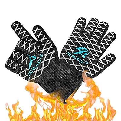 MLMLANT Grillhandschuhe,Ofenhandschuhe Hitzebeständig BBQ Handschuhe Kochenhandschuhe bis zu 500°C 1 Paar rutschfeste mit Silikon EN407 für Grill,Kochen,Backen,Schweißen (1 Paar)