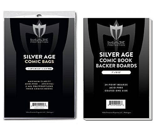 25 EACH Max SILVER age COMIC BOOK BAGS AND BOARDS PREASSEMBLED – FAST SHIP 51KsffgZ PL