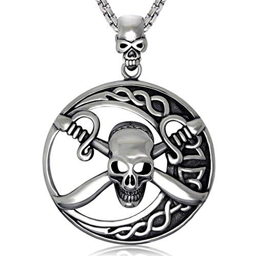 änger Halskette für Herren, Pirat Skelett Pirat Skull Kreuz-Knochen Vollmond, Silbern ()