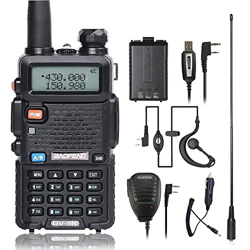 BaoFeng UV-5R Walkie Talkie 2 Way Radio with One More 1800mAh UV5R Battery  One Car Charge One Hand Mic and One TIDRADIO NA-771 Antenna Baofeng Radio