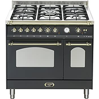 lofra retro gas elektro standherd 90cm doppelbackofen farbe black 70l gro er backofen. Black Bedroom Furniture Sets. Home Design Ideas
