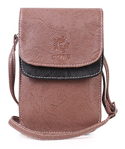 Double Flap Stylish Mobile Sling Bag for Girls - Purple Brown with Black