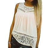 VENMO ❀❀ Damen Sommer Ärmellos Spitze Bluse T-Shirt (XXXL)