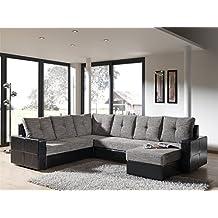 mobilier deco canap dangle convertible en u noir et gris altor couchage 2 personnes - Canape U