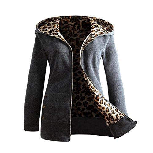 Trada Damen Wintermantel, 1 STÜCK Frauen Plus SAMT Verdickt Kapuzenpullover Leopard Zipper Coat Strickjacke Outwear Hoodie Baumwolle Trenchcoat Mantel Winter Warm Coat (S, Dunkelgrau) Leopard Trenchcoat