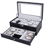 Uhrenbox-12 Slots Mens Uhren Organizer Kunstleder Schmuck Display Kissenbezug, Brillen & Sonnenbrillen-Etui, abschließbarer Uhrengehäuse, Schmuckschublade für Aufbewahrung und Display