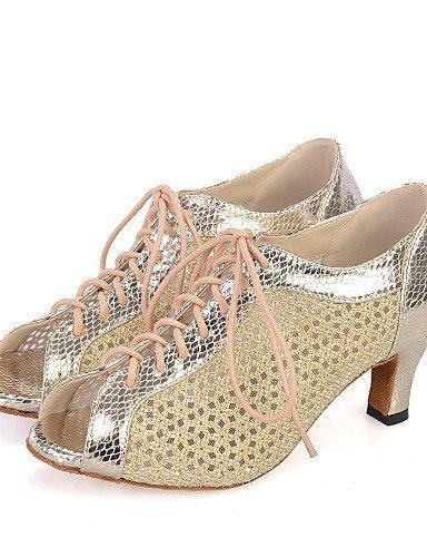 ShangYi Chaussures de danse(Noir / Rouge / Or) -Personnalisables-Talon Bobine-Cuir / Paillette Brillante-Ventre / Latine / Jazz / Baskets de Red