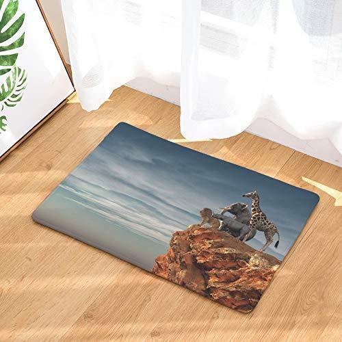 LIS HOME Fußmatte Eingang Elefant Giraffe Löwe Nilpferd stehend auf dem Hügel Fußmatte für Terrasse, Haustür | Terrasse rutschfeste wasserdichte Fußmatte Badematte -
