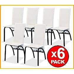 LIQUIDATODO ® - Conjunto PACK 6 SILLAS comedor modernas y baratas en polipiel blanco / armazon negro - mona