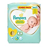 Pampers Premium Protection Softest Comfort Nappies Jumbo Pack Approved by British Skin Foundation, Size 1, Pack of 2 (72 x 2)