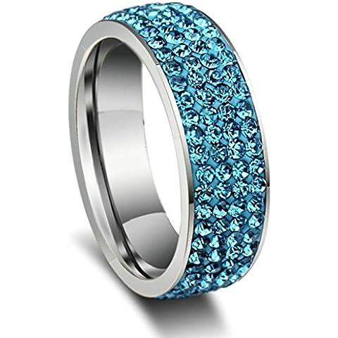 Acciaio Inossidabile Anello da Donna, Fidanzamento Luce Blu 3 Cerchi Cristallo 2 Toni Dimension 25 - Adisaer