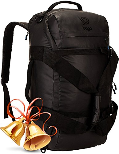 Bago Duffle Backpack - Heavy Duty Bag for Travel, Sports and Gear (Black)