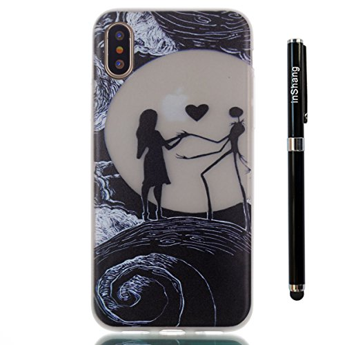 inShang iPhone X 5.8 inch Housse de Protection Etui [Transparent iPhone X 5.8 inch Coque] [Luminous dans l'obscurité]], Ultra mince et léger Case Cover de protection+ Qualite inShang Logo Pens Haute S Moon couple