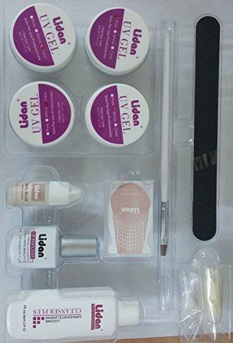 takestop Lidan Kit de reconstruction des ongles UV, 4 gels blancs, roses et transparent, couche dégraissante, colle, lime, pinceau, 40 capsules transparentes et chablons blancs