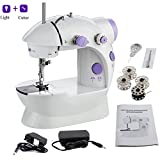 #3: sewing machines for home, Mini Desktop Multi functional Electric Sewing Machine Household Double Stitches Tools in low price accessories all foot set led light portable presser