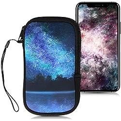 """kwmobile Funda Universal para móvil de M - 5,5"""" - Estuche de [Neopreno] con [Cierre] - Carcasa con diseño de Cielo Estrellado"""