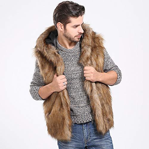 Writtian Fashion Trend Plüschweste Herren Faux Fellweste Wollmantel Revers Wintermantel verdickt Wärmejacke Ärmellos Cardigan Parkas Trenchcoat Khaki
