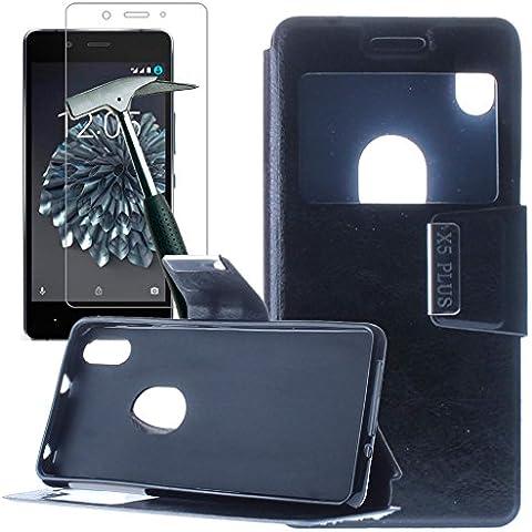 OVIphone Funda Con Tapa Libro Soporte Para BQ AQUARIS X5 PLUS + Cristal Templado (Color Negro)