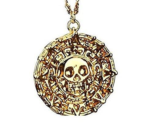 Inception Pro Infinite Piraten der karibischen Halskette Johnny Depp Color Bronze - Gold Skull Aztec Knochen des Cortez Jack ()
