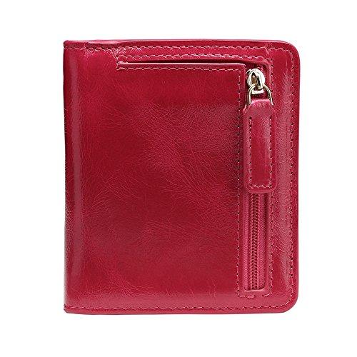 Herrenbrieftasche aus Leder Echtes Leder Super Light Purse Unisex Handtasche Zero Wallet Anti-Diebstahl-Sicherheit Multi-Color Optionales Mini-Pack Geldbörse für den täglichen Gebrauch ( Farbe : Rot )