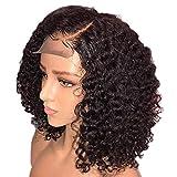 Leking Armure de Cheveux bouclés brésiliens, Couleur Noire Naturelle du Chapeau de Perruque de Cheveux Humains Courts et bouclés