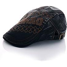 KRY Nueva moda Visera retro del ocio de los hombres al aire libre que compite con Sombrero para caballero ajustables mujeres sombrero de Sun Protection (Negro)