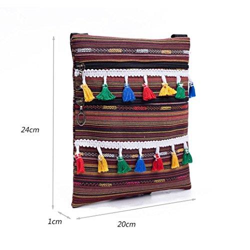 Longra Disegno a forma di stripe della decorazione della nappa delle donne di stile nazionale Singola chiusura della chiusura lampo della chiusura a tracolla inclinata B