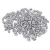 BQLZR 1,2mm con agujeros redondos plata M1?Loop Cable manga parada para crimpar cuerda de alambre de aluminio virolas Pack de 200