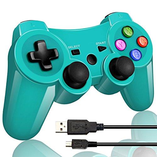 Wireless Bluetooth Game Romote Controller mit Double Shock Bonus kostenloses Ladekabel für ps3 Playstation 3 Controller(Grüne)