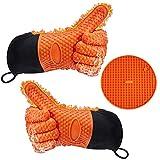 Gudior Hitzebeständige BBQ Cooking Silikonhandschuhe, Außerhalb Wasserdichte & Interne Schutzschicht Baumwolle Lange Handschuhe für Küche & Grill (Orange)