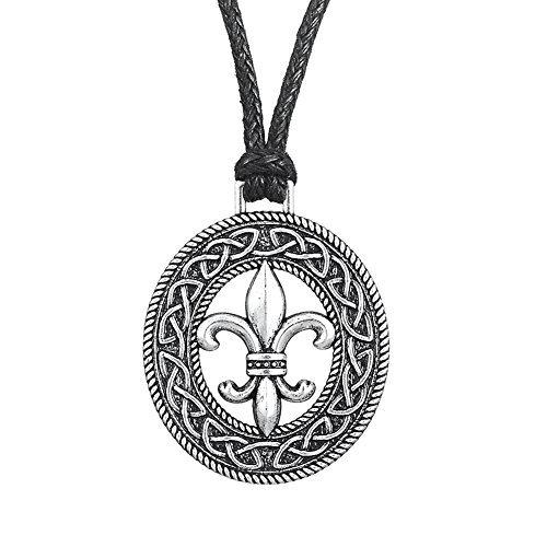 Wicca Retro Stile Irlandese Nodo Medieval Fleur de Lis Lily Fiore Modello Ciondolo Collana