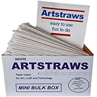 Amazing Arts and Crafts Artstraws White Paper Straws Mini School Bulk Box Pack for Craft Crafting Modelling Maths Art Straw Packs Thin