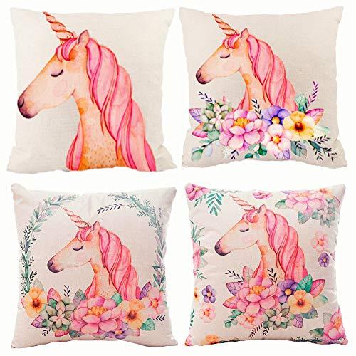 KAISHANE Ensemble de housse de coussin Licorne 4 pièces décoratives taie d'oreiller carrée pour canapé chambre rose 45 cm * 45 cm