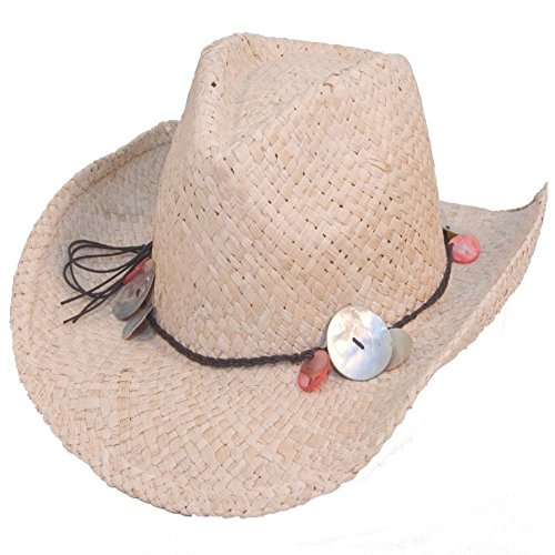 Ladies Straw Shapeable Cowboy Hat With Shell Band One Size Test