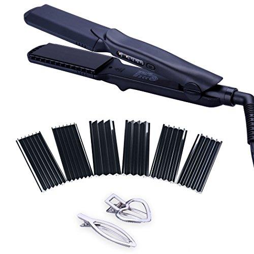 Juego de alisador de cabello 4 en 1, rizador, moldeador, plancha, con herramientas multifunción intercambiables para alisar o rizar el cabello