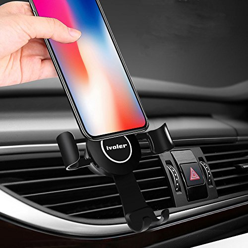 Lüftung Handyhalterung Auto Lüftungsschlitz Halterung Universal KFZ Halter 360 Drehbar Air Vent Phone Holder kompatibel für iPhone Galaxy Huawei usw. (Schwarz) ()