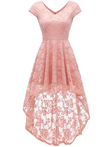 AONOUR AR8010 Damen Elegant Hi-Lo Cocktailkleider Floral Spitze V-Ausschnitt Abendkleider Cap Ärmel Blush S