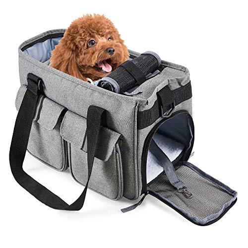 Petcomer Bolsa para Mascotas Perro Gato para Viaje Transporte Coche Cómodo Seguro Talla Mediana Pequeña Portador de Mascotas Gris