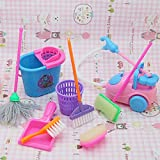 Wicemoon Kids Toy Cleaning Set 9pcs/lot House Cleaning Mop Broom Tools Pretend Play Toy Kit For Boys Girls Dolls Accessories (Color ramdon)