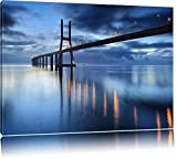 Gewältige Brücke Ponte Vasco da Gama Lissabon Format: 120x80 auf Leinwand, XXL riesige Bilder fertig gerahmt mit Keilrahmen, Kunstdruck auf Wandbild mit Rahmen, günstiger als Gemälde oder Ölbild, kein Poster oder Plakat