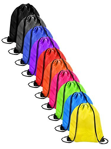 AKORD AKORD 10 Pieces Drawstring Bag Sack Pack Cinch Tote Kids Adults Storage Bag for Gym Traveling Turnbeutel 43 Centimeters Mehrfarbig (Multicolour)