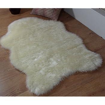 Cream Ivory Faux Fur Oblong Sheepskin Rug 70 X 140 Cm