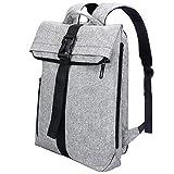 REYLEO Herren Rucksack für Laptop bis zu 15,6 Zoll, Modern Roll Top Daypack, Wasserabweisend und Hochwertig Backpack für Alltag, Reise, Schule, Uni (64 x 30 x 12 cm) Grau