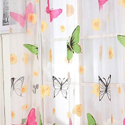 Tongshi butterfly print cortinas sheer para sal n - Cortinas originales para salon ...