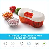 Homecare Beautifully Designed BPA Free Vegetable Chopper - Food Processor with Convenient Pull Cord Mechanism attached Lid and 2 Chopping Interchangeable Blade for Separate Containers.