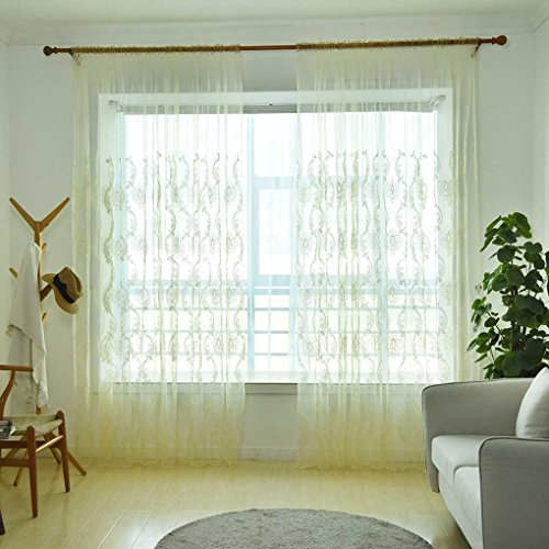 Lorjoy pure color ricamato voile curtain tulle finestra tendaggi tende sheer trasparente in camera traspirante ufficio hotel organza